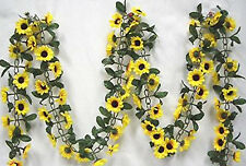 Yellow Sunflower Garland ~ 5 ft Silk Wedding Flowers Arch Gazebo Decor Vines NEW