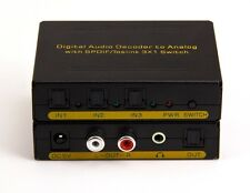 3:1 Digital Optical Audio Switch w Analog Stereo RCA Dolby Decoder Converter 96k