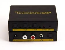 3:1 Digital Optical Audio Selector w Analog Stereo RCA Dolby Decoder Converter