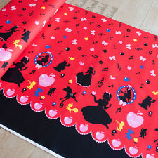 Lecien Fabric Girls Story Snow White Border Red PER METRE Fairy Tale Fairytale F