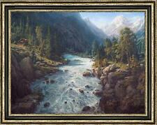 "Art Original Oil painting landscape Mountain stream on canvas 30""x40"""