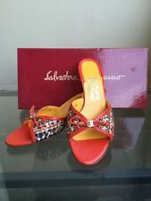 bagsclothesetc: NIB FERRAGAMO Carolin Orange Tweed Kitten Heels Shoes 7 AA