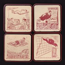 Set of 4 + 2 Extra Beminal Forte Comical Coasters in Orig. Box Ayerst Vitamins
