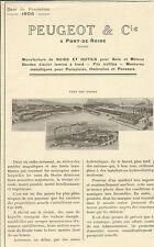 25 PONT-DE-ROIDE PUBLI-REPORTAGE  PEUGEOT MANUFACTURE SCIES & OUTILS 1923