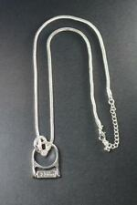 COOL RETRO SILVER RING NECKLACE GERMAN WRITING SIMPLE MYSTERIOUS (ZX6)