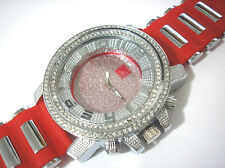 Iced Out Bling Bling Big Case Rubber Band Men's Watch Red Item 2386