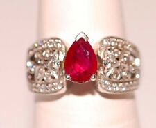Pear Red Natural Ruby Ring in 14K White Gold with Diamonds Size 7.5