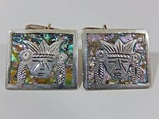 EXCEPTIONAL STERLING SILVER MEXICO AZTEC MAYAN WARRIOR ABALONE  CUFFLINKS EVC