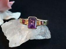 Ring GelbGold 585 14 k 3,4 Gr, Amethyst, Peridot,Citrin, Granat Gr 67 (21,3 mm Ø