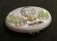 Beautiful Vintage Limoges Porcelain Trinket Box With Hot Air Balloon