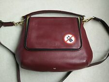 New Auth Anya Hindmarch No Mobiles leather shoulder Crossbody bag Burgundy Red