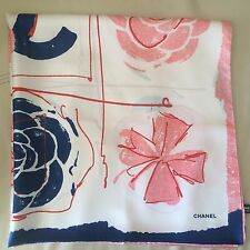 NEW AUTHENTIC CHANEL CC CAMELLIA CLOVER LOGO PRINT PINK 100% SILK SCARF (LAST)