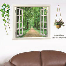 3D Window Green Scene Removable Wall Stickers Paper Mural Home Lving Room Decal