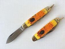 America's Legacy Multiple Pocket Knife Buffalo Bone Handel Brass Ring Opener EDC