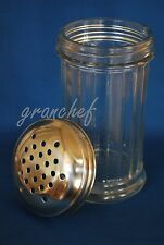 Glass Retro Parmesan Cheese Shaker ~ Heavy Paneled 12oz. w/Stainless Perf. Top