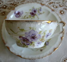 ROSENTHAL CARMEN Bavaria White Floral Gold Trim Breakfast Cup & Saucer 1891-1906