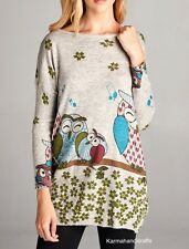 LA SOUL Hippie Gypsy Hobo Owl Animal Print Sweater Top Sweatshirt Tunic M/L