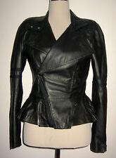 DIESEL UK 8 US 4 EU 36 XS REAL 100% LEATHER Black Biker Jacket Rock Excellent