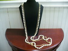 "Vintage 2 Strand Goldtone Chain & Oval Faux Pearl Bead 58.5"" Necklace"