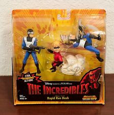 2003 DISNEY THE INCREDIBLES RAPID RUN DASH + GOONS ACTION FIGURES & POSTER MIP