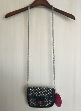 NWT Say What women's black leather silver stud cross body biker hip bag purse S