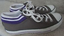 Converse All Star with Built in Sock Trim Size Men 7 Women 9 Gray w/ Purple EUC