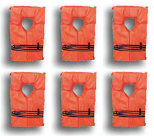 6 Pack Type II Orange Life Jacket Vest - Adult Universal Boating PFD