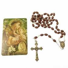 St. Anthony brown basic plastic oval rosary beads with prayer Catholic