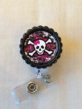Skull Pink Retractable Reel ID Badge Holder, Lanyard Punk Rock