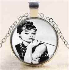 Audrey Hepburn Photo Cabochon Glass Tibet Silver Chain Pendant  Necklace