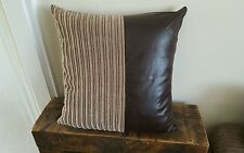 "2 22"" x 22"" Nutmeg Jumbo Cord with Brown Faux Leather Cushion Covers dfs csl etc"