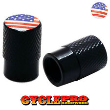 2 Black Billet Knurled Tire Valve Cap Motorcycle - USA FLAG - 021