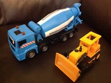 Blue Cement Truck & Yellow Digger - Good For Scalextric Scenery