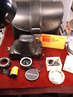 #398 ESTATE FIND, NICE LOT OF VTG CAMERA CASES, LENSES, FILTERS, FILM, MIRIANDA+