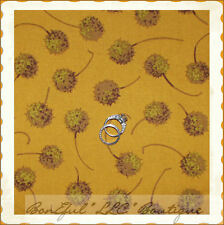BonEful Fabric FQ Cotton Quilt VTG Flower Mustard Seed Gold Yellow Fall Harvest