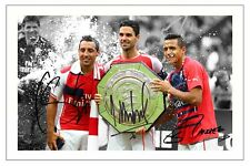 ALEXIS SANCHEZ MIKEL ARTETA SANTI CAZORLA ARSENAL SIGNED PHOTO PRINT SOCCER