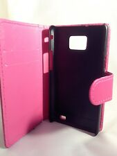 pink WALLET Leather Case Phone Cover Samsung Galaxy S2 II GT-I9100 Plain