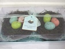 WELL DRESSED HOME EASTER BIRD NEST SPECKLED EGGS TABLE HOME DECOR SET 2