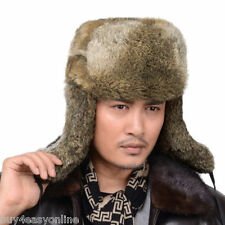 Brand New Men Snowboard Real Rabbit Fur Russia Trapper Aviator Bomber Hat Cap