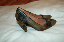 NWOB Bimba & Lola Camouflage Green/Brown Calf Hair Heels Pumps Shoes Size 36
