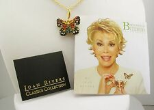 Joan Rivers Monarch Butterfly Pendant Necklace (w/box, pouch, card)