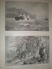 HMS Assistance stranded in Tetuan Bay off Morocco 1905 old print