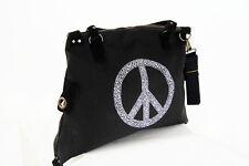 Damen XXL Shopper Schultertasche Henkeltasche schwarz mit Peacezeichen Neu