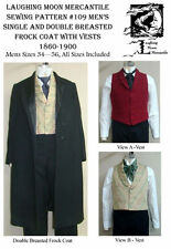 Men's Single & Double Breasted Frock Coat Vests Sewing Pattern #109 (Lmm109)