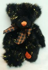 "Russ Halloween Sparky Bear Plush 11"" Stuffed Animal Pumpkin Foot Black Sparkly"