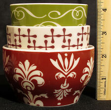 Starbucks 2010 Set of 3 Holiday Christmas Nesting Tea Cups New Bone USA Seller