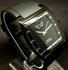 076P Men Sports Luxury Wrist Watch Black Band Square Black Case Slim Dial Quartz