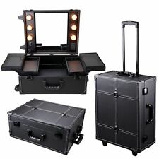 Pro Rolling Studio Makeup Artist Cosmetic Case w/ Light Mirror Black Train Table