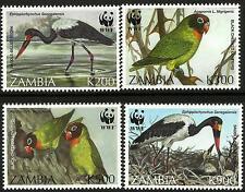 Zambia 1996 Endangered Saddlebilled Stork & Lovebird set with WWF Panda Logo MNH