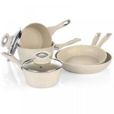 SALTER 8 PIECE INDUCTION SAUCEPAN SET NON STICK MARBLE COATED FRY FRYING POT PAN